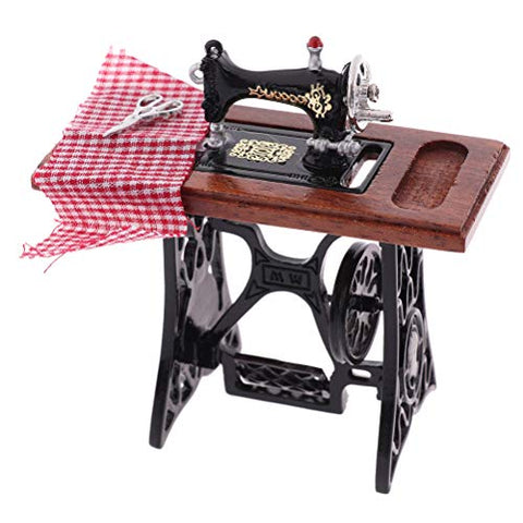 1:12 Dollhouse Miniature Furniture Sewing Machine Tailor Toy Doll House Vintage Decoration Accessories