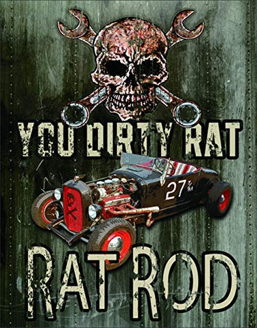 Hot Rod Legends Dirty Rat Metal Sign 16""