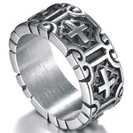 Retro Vintage Ring Stainless Steel Cross Band Style Biker Ring