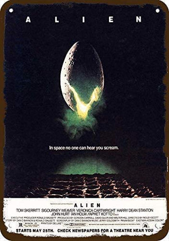 Vintage Alien Movie Metal Sign - UniqueVintages