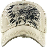 Indian Skull Vintage Distressed Cap