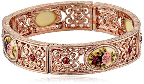 Vintage Floral Manor House Rose Gold-Tone Bracelet