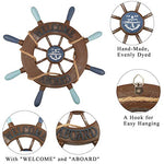 "2 Pack 13"" Wooden Ship Wheel and Wood Anchor"