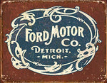 Ford Motor Co. Vintage Historic Logo Metal Sign