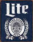 Miller Lite Bottle Tin Sign