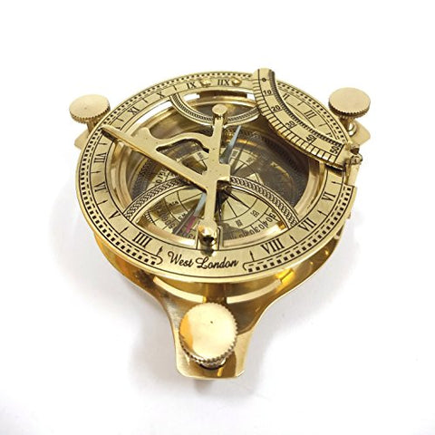 "Vintage 4"" Sundial Compass Solid Brass"