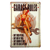 Garage Rules Pin Up Girl Metal Sign