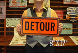 Vintage One Way and Detour Street Tin Sign