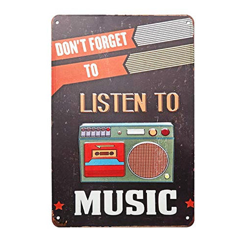 Retro Listen to Music Metal Sign