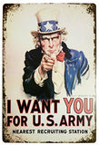 I Want You for U.S. Army Retro Metal Sign