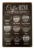 Coffee Menu Retro Tin Sign