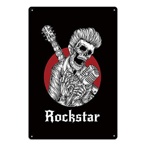 Rockstar Skeleton Metal Sign
