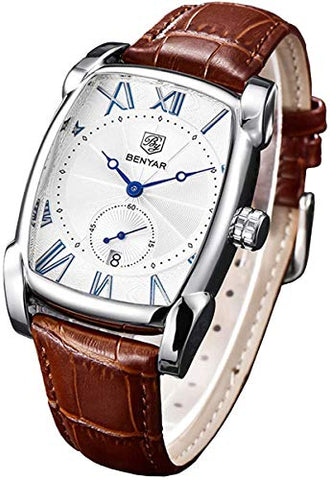 Classic Retro Rectangle Genuine Leather Quartz Watch