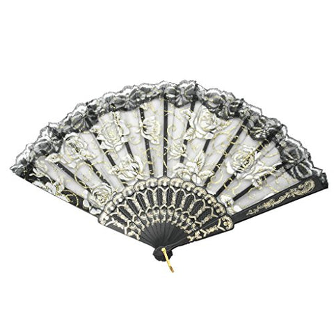 Retro Flower Rose Handheld Folding Fan