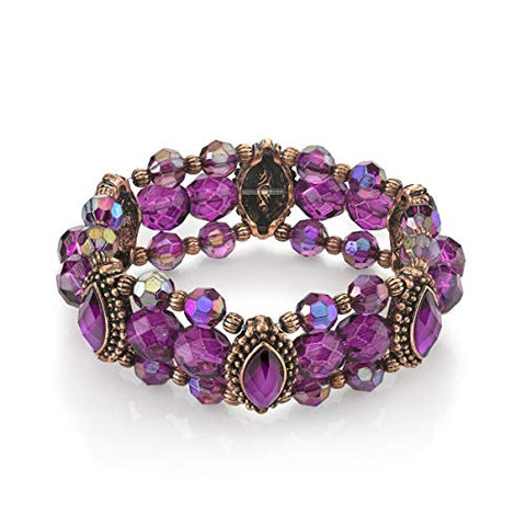 Vintage Amethyst Purple Ab Beaded Stretch Bracelet