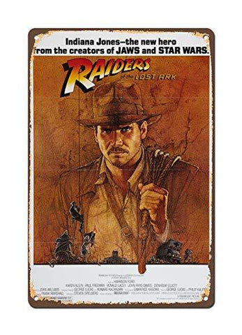 1981 Indiana Jones Vintage Metal Sign - UniqueVintages