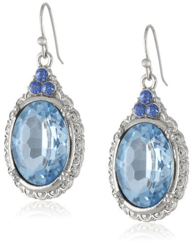 Vintage Blue Sapphire Oval Drop Earrings