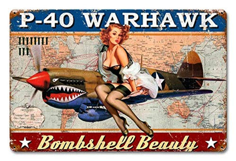 Retro Military P-40 Warhawk Metal Sign