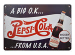Vintage Pepsi Cola From USA Metal Sign