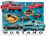 Ford Mustang Chronology Retro Metal Sign 16""