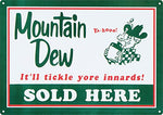 Vintage Mountain Dew Sold Here Metal Sign