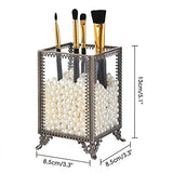Vintage Make up Brush Holder with White Pearls