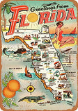 Vintage Retro Collectible tin Sign - 1954 Greetings from Florida -Wall Decoration 12x8 inch Poster Home bar Restaurant Garage Cafe Art Metal Sign Gift