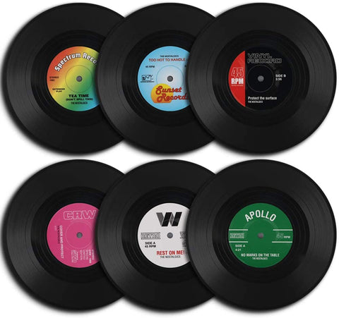 6Pcs/Set Retro Vinyl Record Drinks Coasters - UniqueVintages