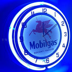 "Mobilgas Large 18"" Double Neon Clock"