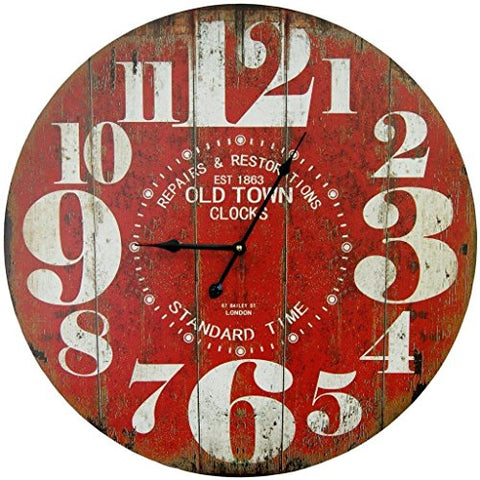 Retro Large Round Red Wall Clock 23""