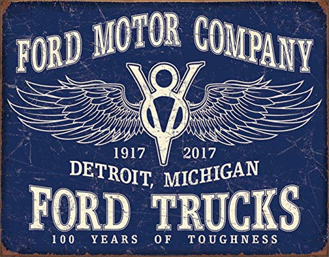 Ford Trucks 100 Years Vintage Metal Sign 16""