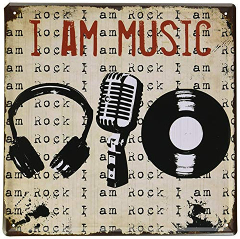 I am Music Vintage Metal Sign