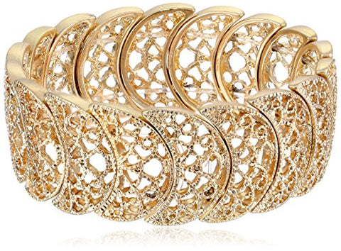 Vintage Half-Circle Filigree Stretch Bracelet
