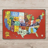 USA Map License Plate Metal Sign