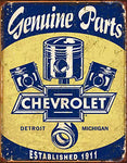 Chevrolet Genuine Parts Vintage Tin Sign