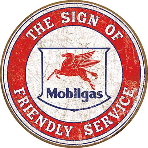 Vintage Mobil Gas Service Metal Sign 11.75""