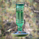 Green Antique Bottle Glass Hummingbird Feeder 10oz