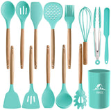 14PCS Silicone Kitchenware Set with Vintage Holder - UniqueVintages