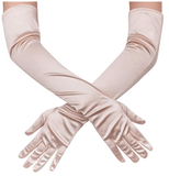 "21"" Long Full Finger Evening Satin Gloves - UniqueVintages"