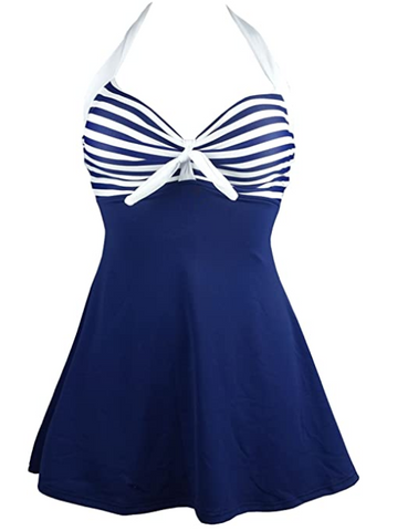 Navy White Retro Sailor Pin Up Swimsuit
