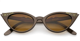 50's Vintage Cat Eye Sunglasses with Rhinestones - UniqueVintages