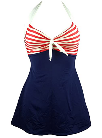 Navy Blue Retro Sailor Pin Up Swimsuit