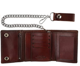 Tri-fold Vintage Leather Steel Chain Wallet