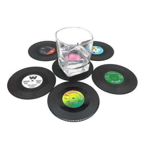6Pcs/Set Retro Vinyl Record Drinks Coasters