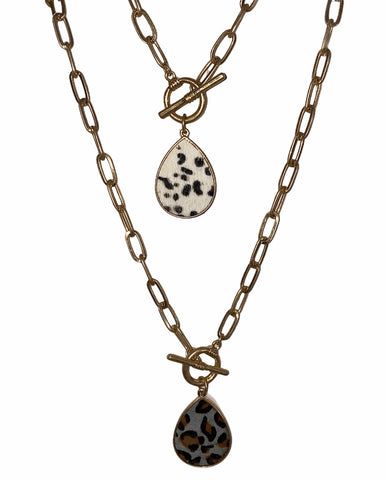 GENUINE LEATHER LEOPARD NECKLACE