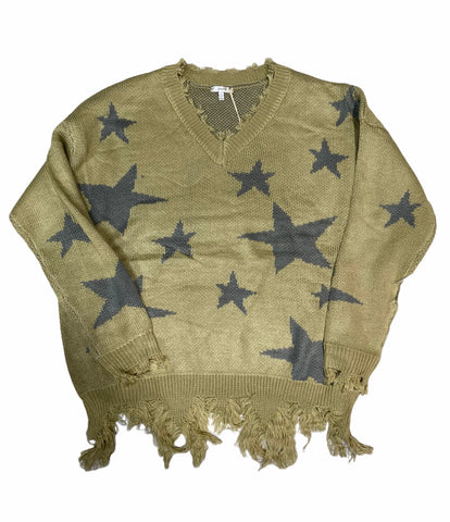 1X-3X OLIVE STAR DISTRESSED SWEATER