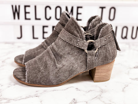GRAY CANVAS BOOTIES
