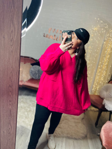 S-3X HOT PINK OVERSIZED SWEATER