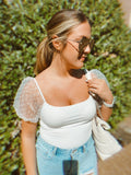 WHITE PUFF SLEEVE BODYSUIT