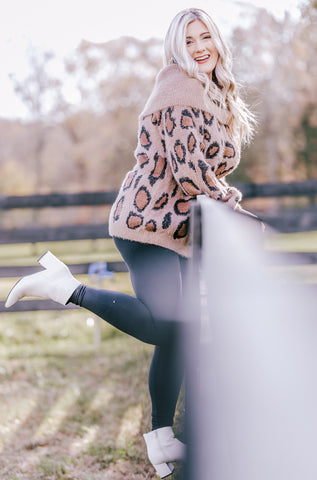 LEOPARD COWL NECK/OFF THE SHOULDER SWEATER